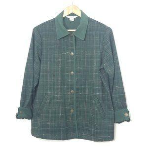 Alia | Vintage Green Plaid Button Front Shirt
